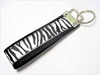 Zebra Print Ribbon Wristlet Key Fob Keychain Black and White