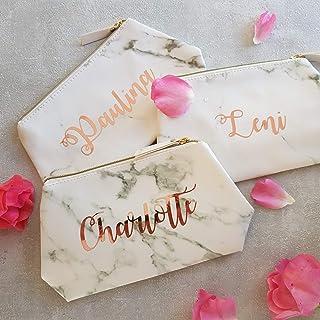 Marmo Make Up Bag Regalo con nome personalizzato in oro rosa