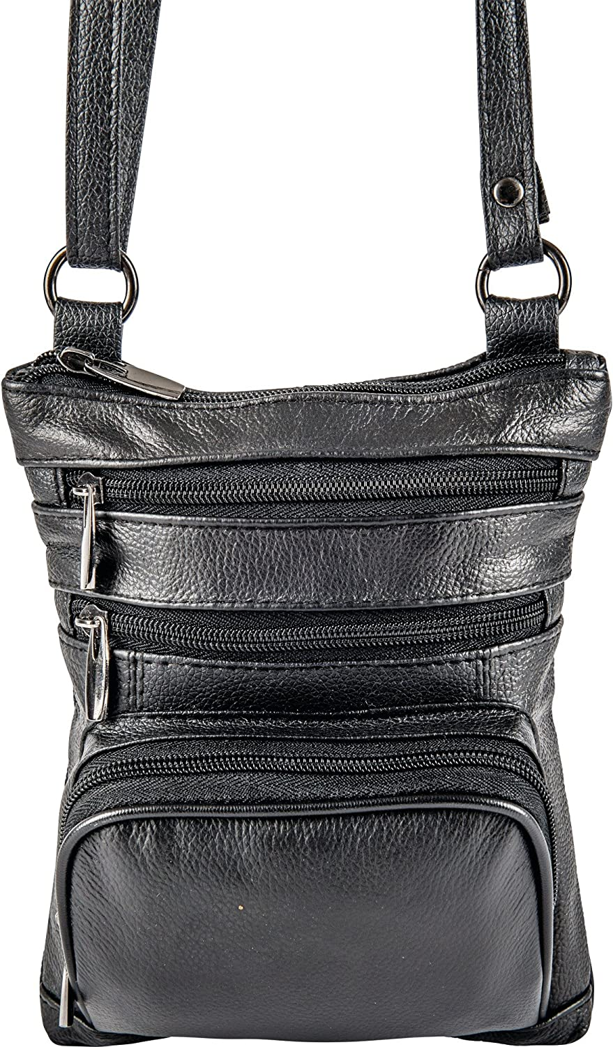 Casual Outfitters Black Ladies Solid Leather Small Shoulder Bag