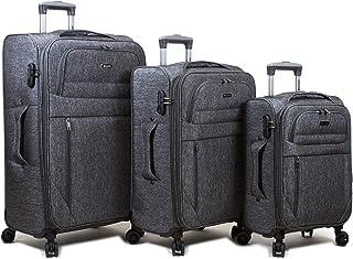 Dejuno Aurora New Generation Lightweight Denim 3-Piece Spinner Luggage Set, Black