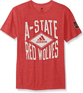 adidas NCAA Arkansas State Red Wolves Men's Diamond Mine Tri-Blend Short Sleeve Tee, Medium, Power Red Heathered