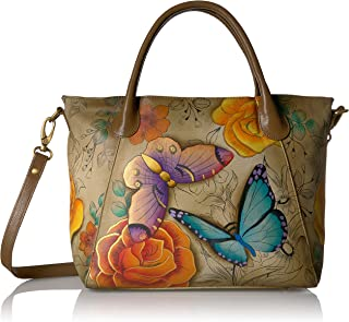 Anna, Handpainted Leather Slouch Tote Bag-Floral Paradise Tan