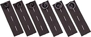 Elastic Waist Extenders (6 Pack), Adjustable Waistband Expanders for Men and Women, Jeans Pants Button Extender Set by Johnson & Smith (Black)