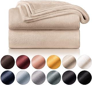 Blumtal - Couverture Polaire 220 x 240 - Plaid Beige - Plaid pour Canapé - Plaid Cocooning - Couverture Polaire Epaisse, M...
