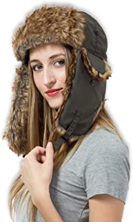 0e900705bf1 Trapper Hat with Faux Fur   Ear Flaps - Ushanka Aviator Russian Hat for  Serious Expeditions