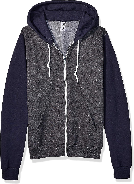 Marky G Apparel Men's Flex Fleece Full-Zip Hooded Sweatshirt Jacket, Dark Heather Gr, XS