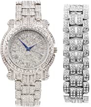 Bling-ed Out Round Luxury Mens Watch w/Bling-ed Out Matching Bracelet - L0504B Silver