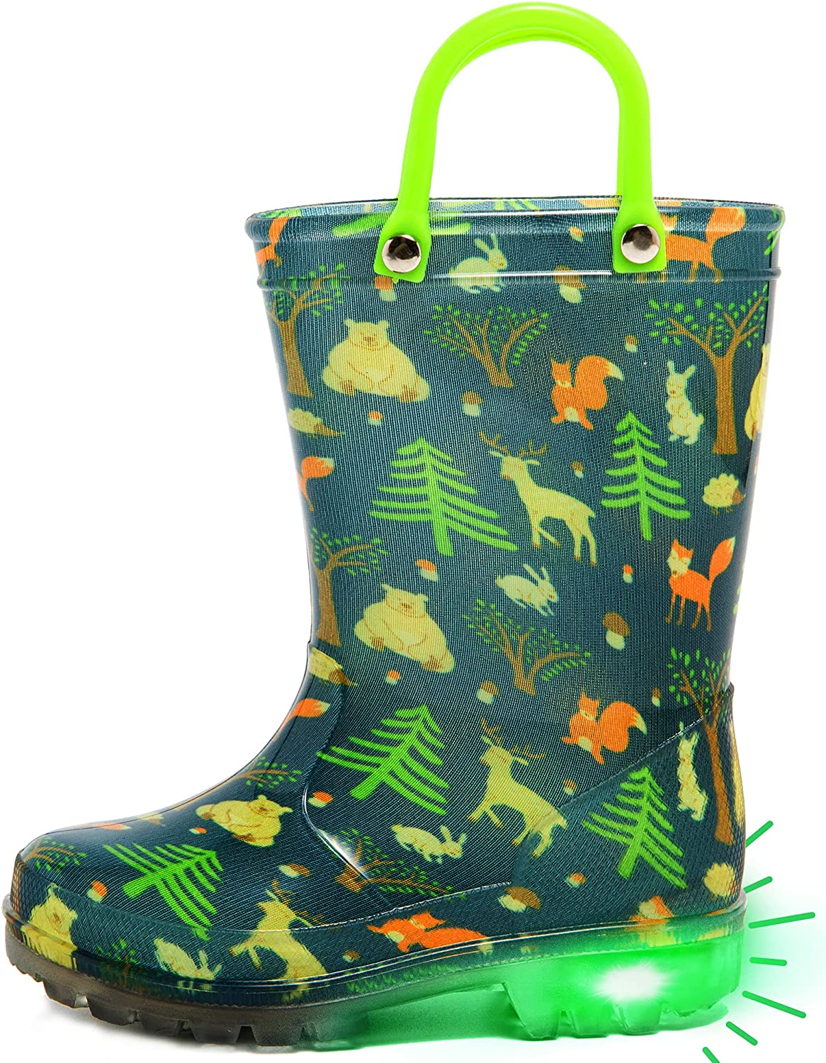 dripdrop Kids Rain Boots, Girls Boys Light Up Boots with Adorable Printed and Easy-On Handles