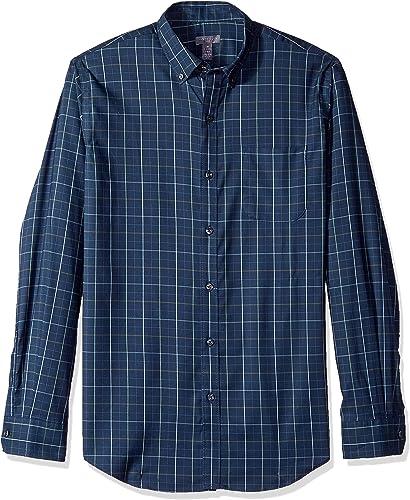 Van Heusen Hommes's Flex manche longue Stretch Shirt, Turquoise Stargazer Stripe, grand