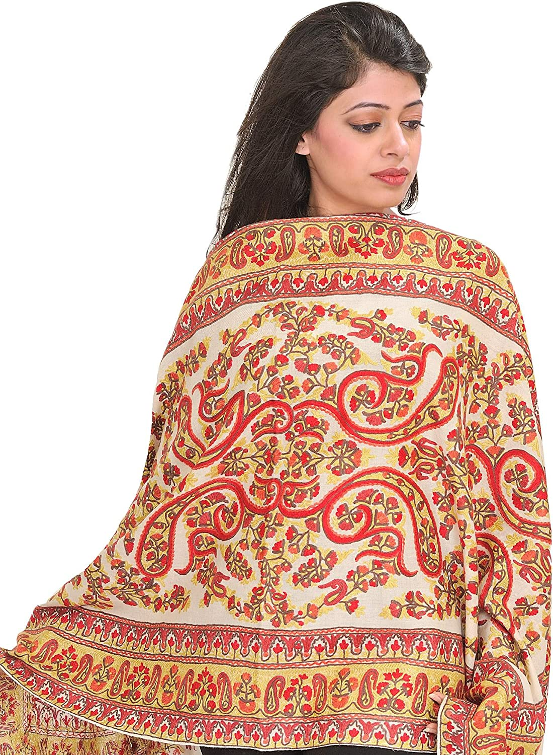 Exotic India Stole from Kashmir with Ari-Embroidered Pa