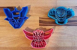 Set di 3 Tagliabiscotti a forma di robot anime degli anni '80 (Mazinga, Jeeg Robot d'Acciaio e Goldrake)