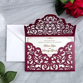 YIMIL 20 Pcs Laser Cut Wedding Invitation Cards with Envelopes for Wedding Quinceañera Birthday Engagement Bridal Shower Graduation Party (Burgundy)
