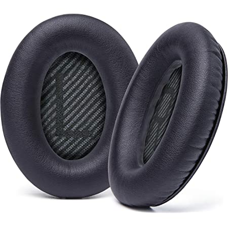 WC Wicked Cushions Upgraded Replacement Ear Pads for Bose QC35 & QC35ii (QuietComfort 35) Headphones & More - Softer Leather, Luxurious Memory Foam, Added Thickness, Extra Durability | (Black)…