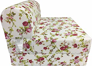 """D&D Futon Furniture Red Rose White Sleeper Chair Folding Foam Bed Sized 6"""" Thick X 32"""" Wide X 70"""" Long, Studio Guest Foldable Chair Beds, Foam Sofa, Couch, High Density Foam 1.8 Pounds."""
