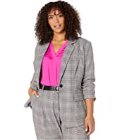 Plus Size Colorful Glen Plaid Notch Collar Blazer