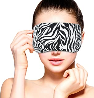 Heated Microwavable Eye Mask by FOMI Care   Lavender Scented, Reusable, Compress for Migraines, Dry Eyes, Headaches, and Sinus Relief   Soothing Moist Heat Wrap (Zebra)