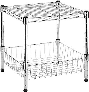 (SUPREME STACKING SHELF W/BASKET-CHROME) - Whitmor Supreme Stacking Shelf With Basket