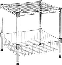 Whitmor Supreme Stacking Shelf with Basket - Adjustable Home Organizer - Chrome