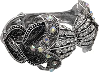 Gypsy Jewels Exotic Flower Tulip Lily Large Unique Statement Fancy Silver Tone Rhinestone Bling Chunky Hinged Bangle Brace...
