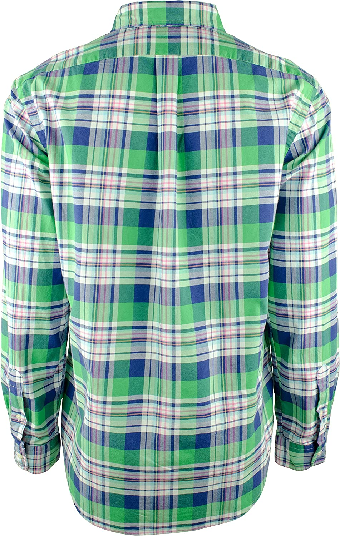 Polo Ralph Lauren Mens Lime/Navy Plaid Classic Fit Oxford Button Down Shirt