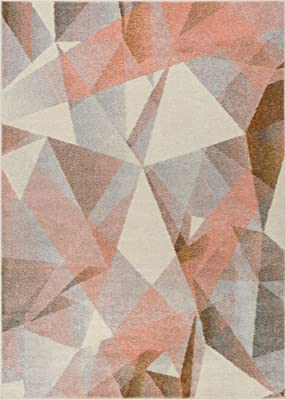 """Well Woven Barra Blush Pink Multi-Color Modern Geometric Triangle Pattern Abstract 8x11 (7'10"""" x 10'6"""") Area Rug Contemporary Thick Soft Plush"""