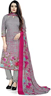 Rajnandini Women's Grey Cotton Printed Unstitched Salwar Suit Material (Free Size)