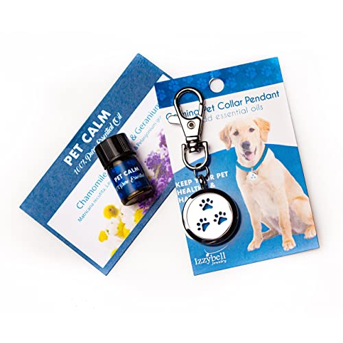 Izzybell Jewelry Essential Oil Dog Collar Pendant - Stainless Steel Aromatherapy Diffuser for Your Pet