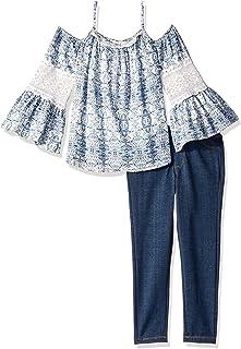 ea428bb48762 Jessica Simpson Girls  Cold Shoulder Top and Jean Set