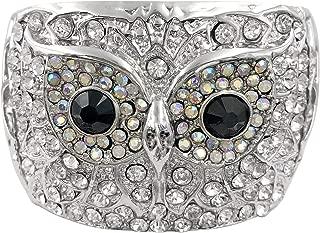 Gypsy Jewels Owl Face Stunning Statement Rhinestone Open Filigree Wide Big Chunky Cuff Bangle Bracelet - Assorted Colors