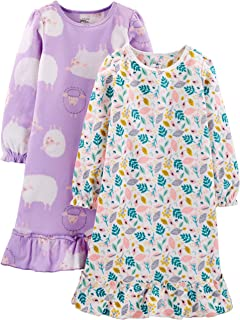 Image of Carter's 2 Pack Fleece Sheep and Floral Nightgowns for Girls and Toddlers - See More Designs