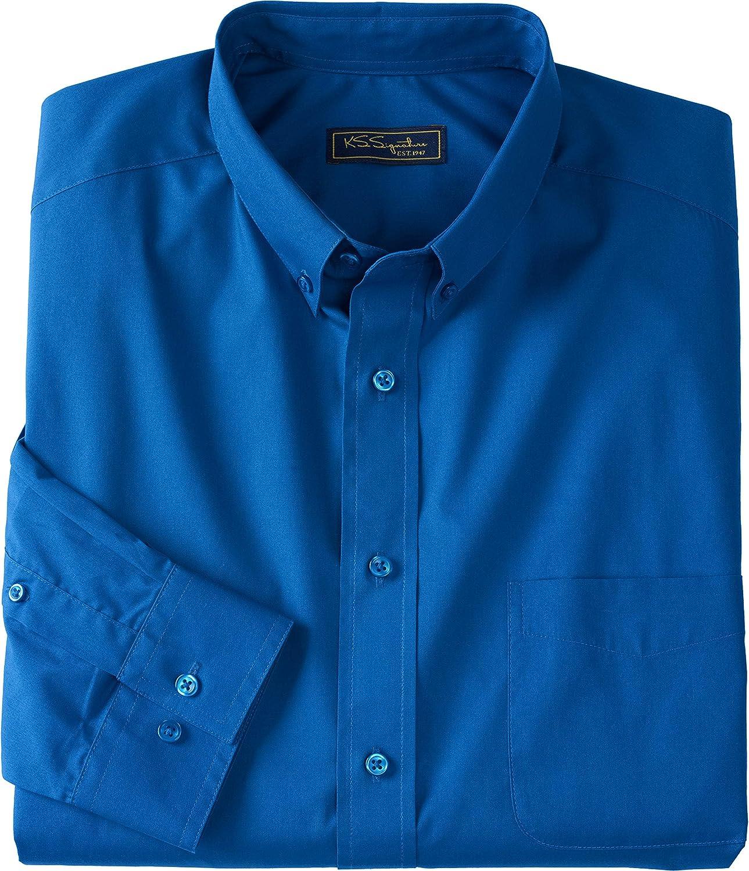 KingSize KS Signature Men's Big & Tall No Hassle Long-Sleeve Button-Down Dress Shirt - Big - 17 1/2 35/6, Royal Blue
