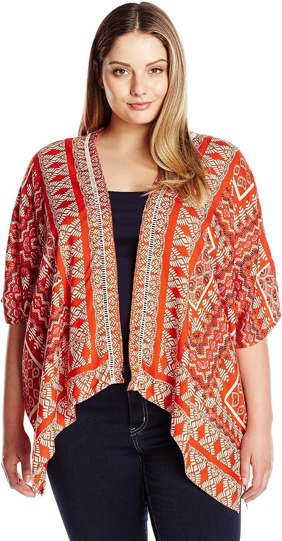 Angie Womens Red Printed Kimono TShirt