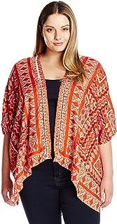 Angie Women's Plus-Size Red Printed Kimono