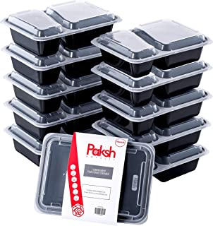 Paksh Novelty Meal Prep Lunch Containers 2-Compartment with Super Easy Open Lids - BPA-Free, Reusable, Microwavable - Bent...
