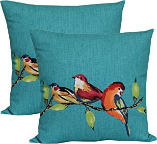 Mainstays Birdie Turquoise Decorative Throw Pillow Cover 16 x 16 Inches - Set of 2