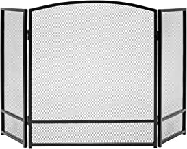 Best Choice Products 47x29in 3-Panel Simple Steel Mesh Fireplace Screen, Fire Spark Guard Grate for Living Room Home Decor w/Rustic Worn Finish - Black