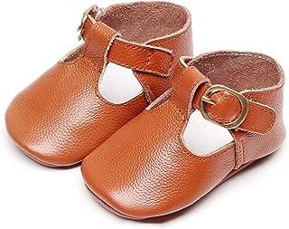 Bebila T-Strap Infant Moccasins for Girls Buckle Soft Baby Boy Shoes Genuine Leather Mary Janes Golden