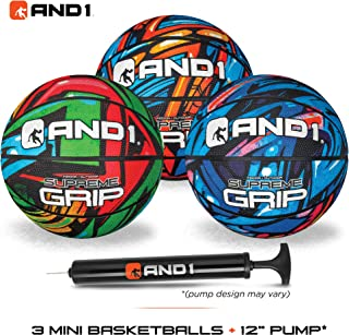 AND1 Mini Basketball Set for Kids (Deflated w/ Pump Included): - 3 Pack of Premium Youth Size Basketballs, Easy to Grip, Shoot & Dribble, Made for Indoors and Outdoors