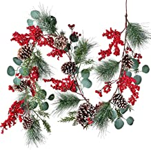 DearHouse 6 FT Red Berry Christmas Garland with Berries Pine Cones Spruce Eucalyptus Leaves Winter Greenery Garland for Ho...