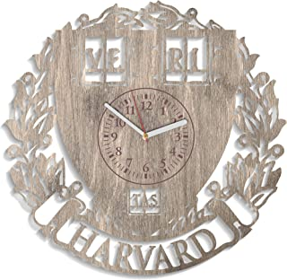 Kovides Harvard University Wall Clock Exclusive Birthday Gift for Student Room Decorations Ivy League Wall Clock Harvard Wooden Wall Clock University Wall Decals (Brown)