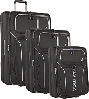 Nautica 3 Piece Luggage Set-Lightweight for Travel2, Black/Grey, One
