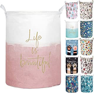 Aouker Merdes 19.7'' Waterproof Foldable Laundry Hamper, Dirty Clothes Laundry Basket, Linen Bin Storage Organizer for Toy Collection (Life Pink)