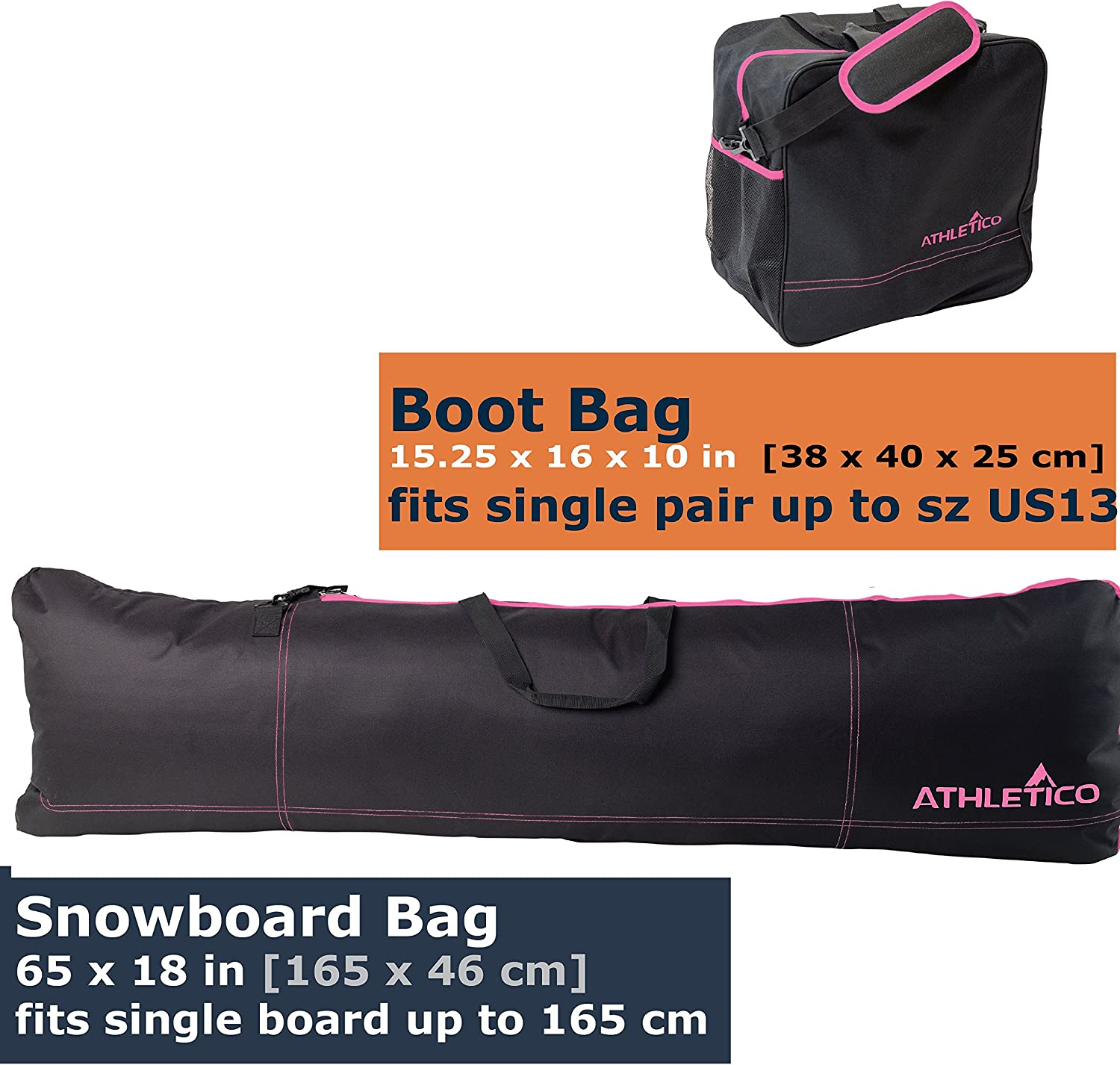 Store /& Transport Snowboard Up to 165 cm and Boots Up to Size 13 Black Includes 1 Snowboard Bag /& 1 Boot Bag Athletico Two-Piece Snowboard and Boot Bag Combo