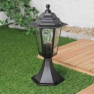 Lámpara de pedestal exterior rústica PARIS Negro E27 IP44 Lámpara exterior Ways Stand Pilar Iluminación de jardín
