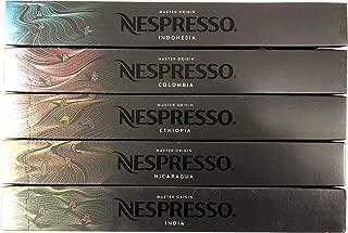 Nespresso OriginalLine Master Origin Variety Pack: Colombia, Ethiopia, India, Indonesia, Nicaragua, 50 Capsules - NEW - ''NOT compatible with Vertuoline''