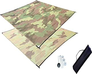 DAY STAR SHADES 10' x 10' Outdoor RV Patio Mat Combo Set with Stakes and Carry Bag (Green Camo)