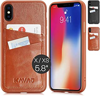 KAVAJ iPhone X/XS Case Leather Tokyo Cognac-Brown, Supports Wireless Charging (Qi), Slim-Fit Genuine Leather iPhone X Wall...