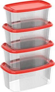 Cosmoplast-6291048134138, Plastic Food Storage Containers Oval 750 ml, 1.5, 2.5, 4 Liters Microwave, Freezer, and Dishwash...