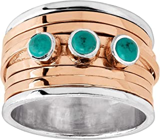 Silpada 'Clearwater' Reconstituted Mojave Turquoise in Sterling Silver & Rose Gold Plating Ring