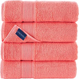 Turkish Cotton Bath Towels   600 GSM   Set of 4 Luxury Bath Towels   10 Colors   Large Sized for Hotels, Home, SPA, Gym   ...